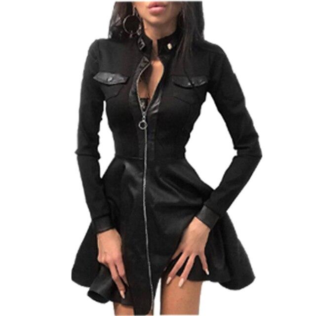 Women Plus Size 5XL Summer Lace Sleeve PU Faux Leather Mini Dress V-Neck Zipper Party Dress Sexy Bodydon Dress 5