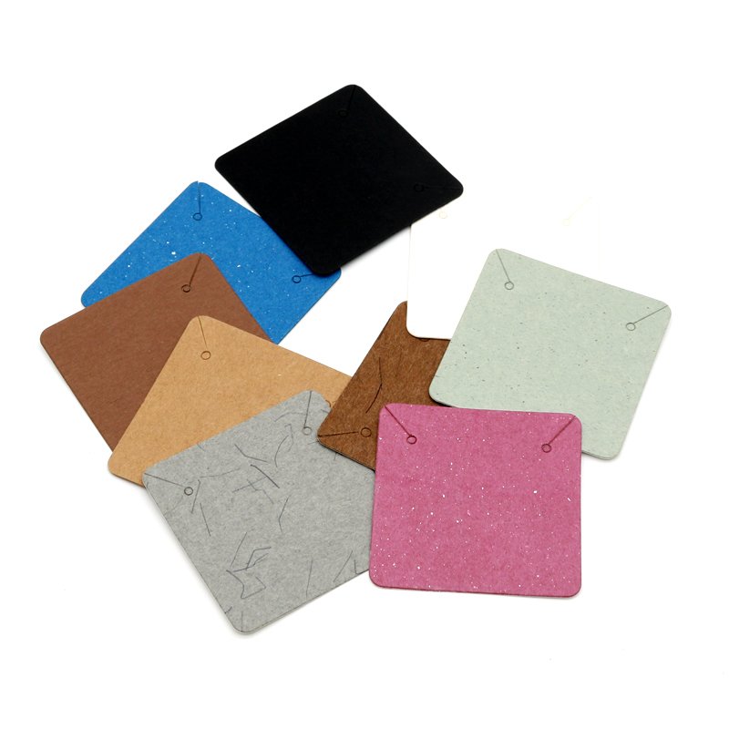 Many Colorful 5x5cm Square Shape Necklace Packing Display Cards 100pcs/lot White Black Brown Fashion Jewelry Paper Price Tags