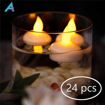ASTRORA 24PCS Waterproof Floating LED Tealights Flameless Flickering Amber Yellow Candles Light For Wedding Party SPA - DISCOUNT ITEM  30% OFF All Category