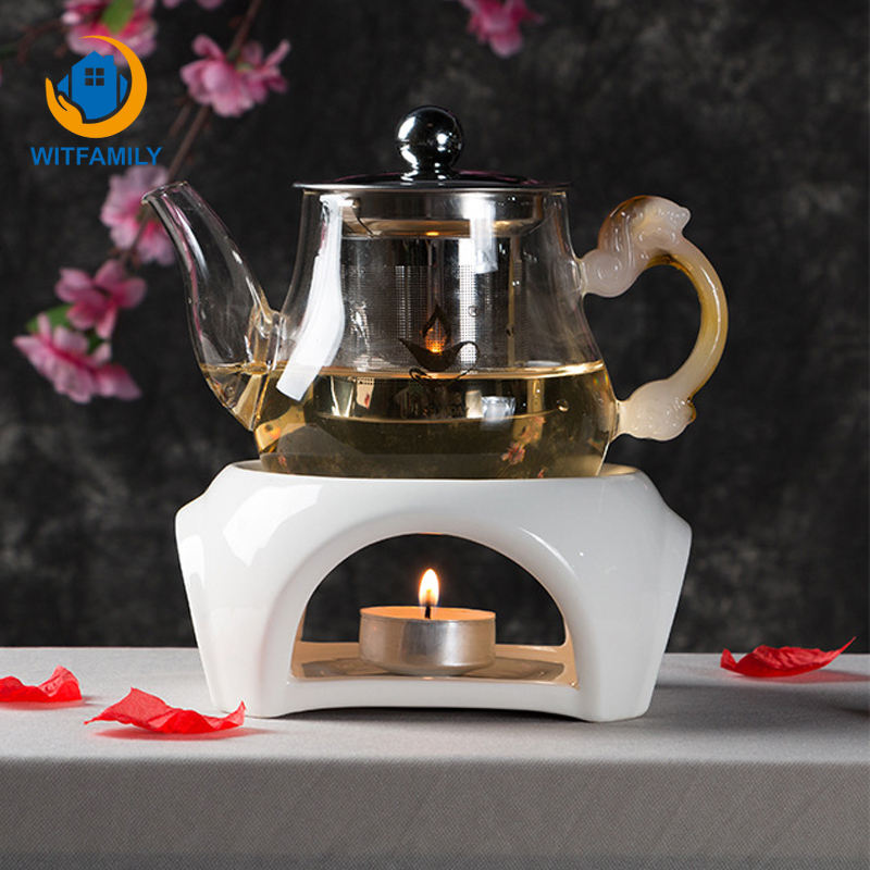 Teapot Cup Warmer Ceramic Candle Heating Base Japanese Style Tea Maker Constant Temperature Heater Tea Pot Boiled Flower Tea