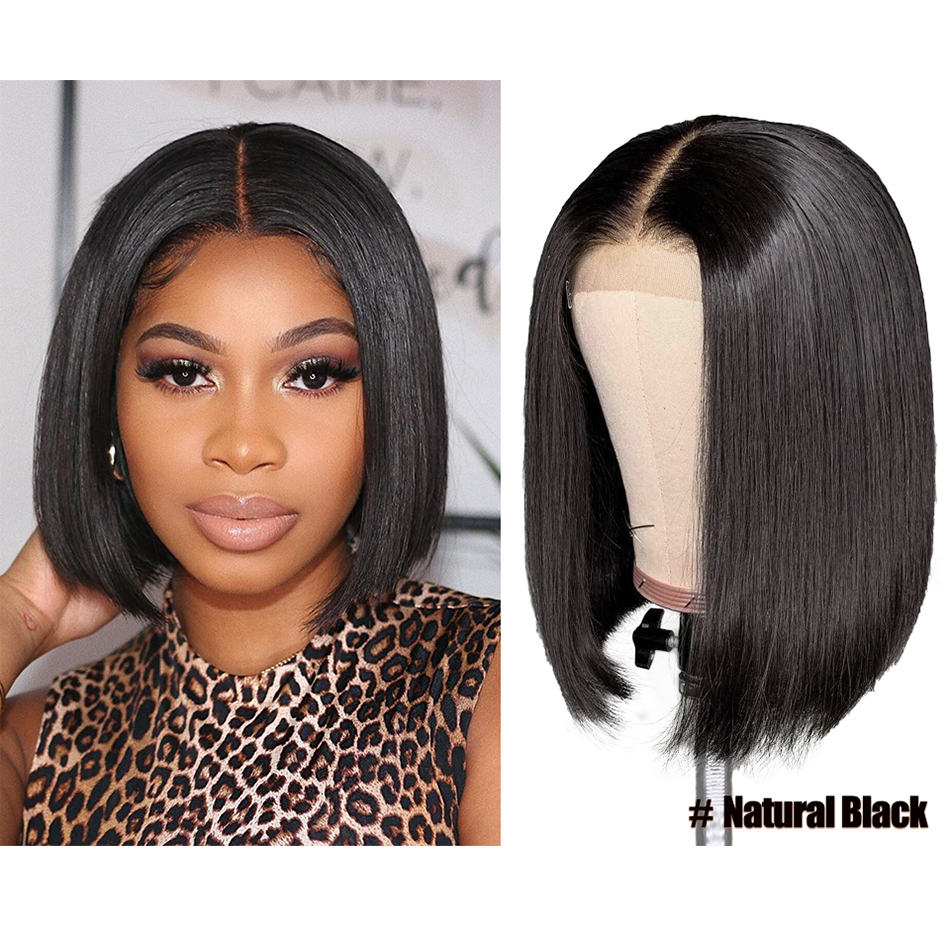 Brazilian Straight Lace Wig 4*4 Short Bob Human Hair Wigs 150% Lace Closure Wigs For Women Perruque Straight Human Hair Wigs