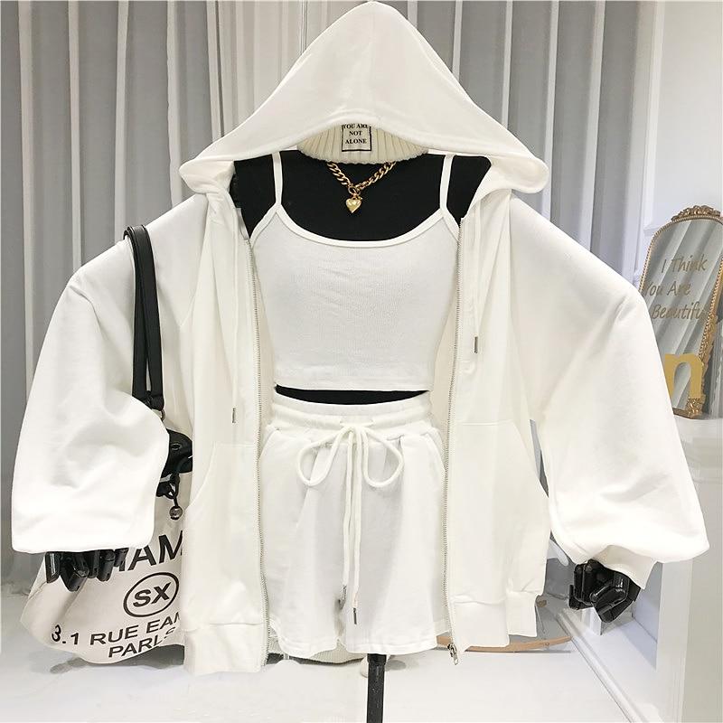 Women 3 Piece Set Zipper Hooded Casual Womens Sweatsuit Matching Sets For Women Joggers Suit Sets 2020 Summer Sports Wear