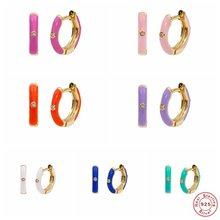 Real 925 Sterling Silver Earrings 9 Colors Bling Zircon Hoop Earring For Woman Ladies Piercing Pendientes orecchini Fine Jewelry