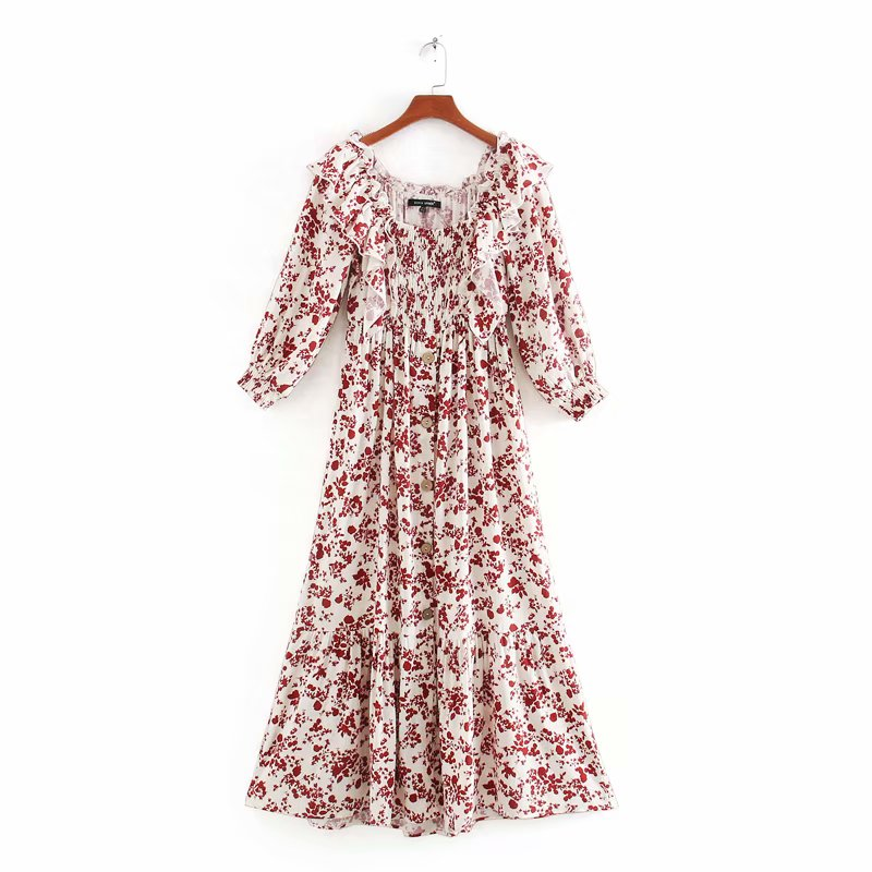 2020 New Women Holiday Wind Printing Ruffles Midi Dress Femme Three Quarter Sleeve Off Shoulder Vestidos Elastic Dresses DS3503