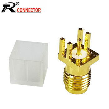100pcs/lot SMA Female Jack Solder Edge PCB Mount Straight RF Connector Gold Plated SMA-KE 1.7mm Spacing PCB RF Adapter with Cap