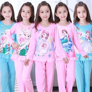 Детские пижамы для девочек, пижамный комплект, осенняя одежда для сна с изображением принцесс Анны и Эльзы из мультфильма «Холодное сердце»...
