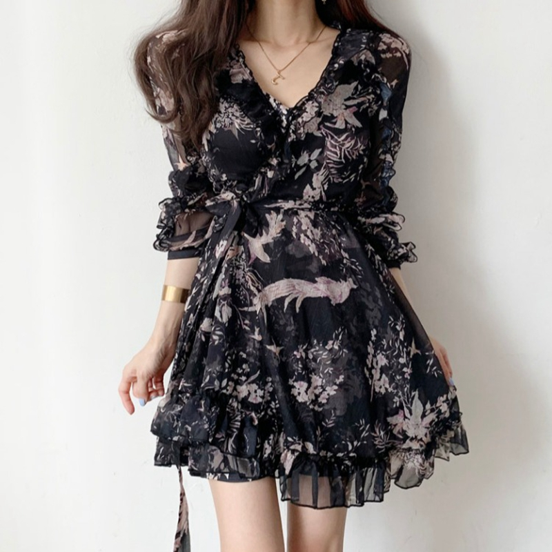 Dresses Woman Party Night 2020 Spring Korean French Floral V neck Ruffle Edge Snow Spinning Mesh Patchwork Dress Women Dresses  - AliExpress