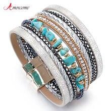 Amorcome с синим натуральным камнем длинные кожаные браслеты