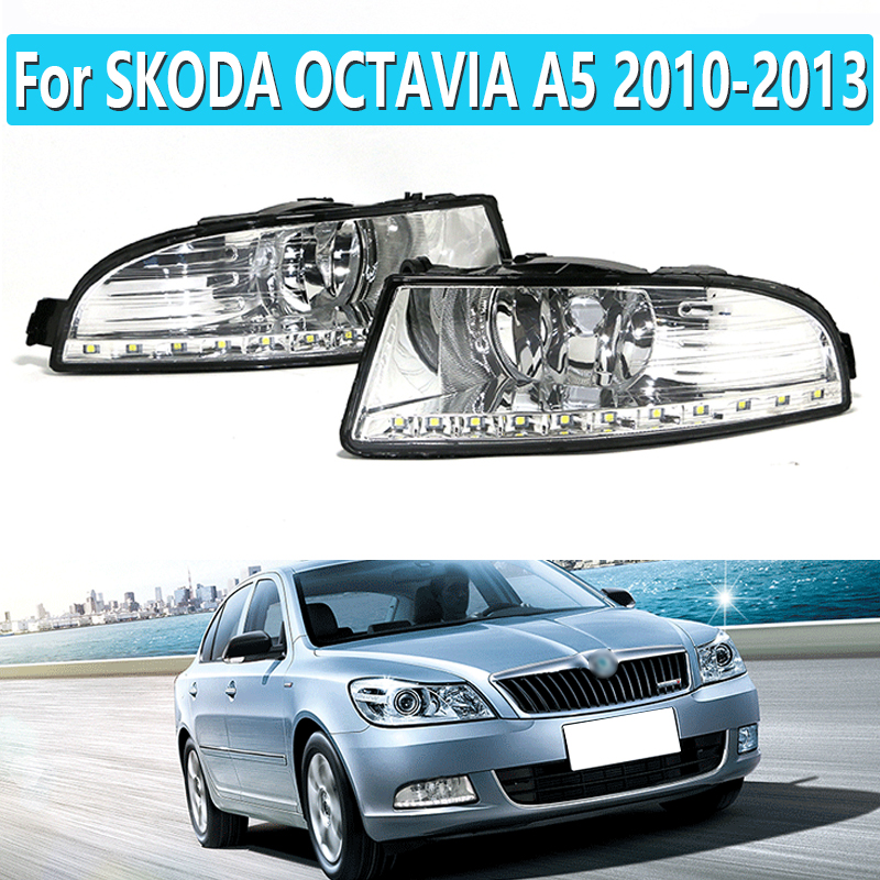 1 paar LED DRL Tagfahrlicht Für SKODA OCTAVIA A5 2010 2011 2012 2013 Tageslicht Wasserdicht Signal Auto Styling licht