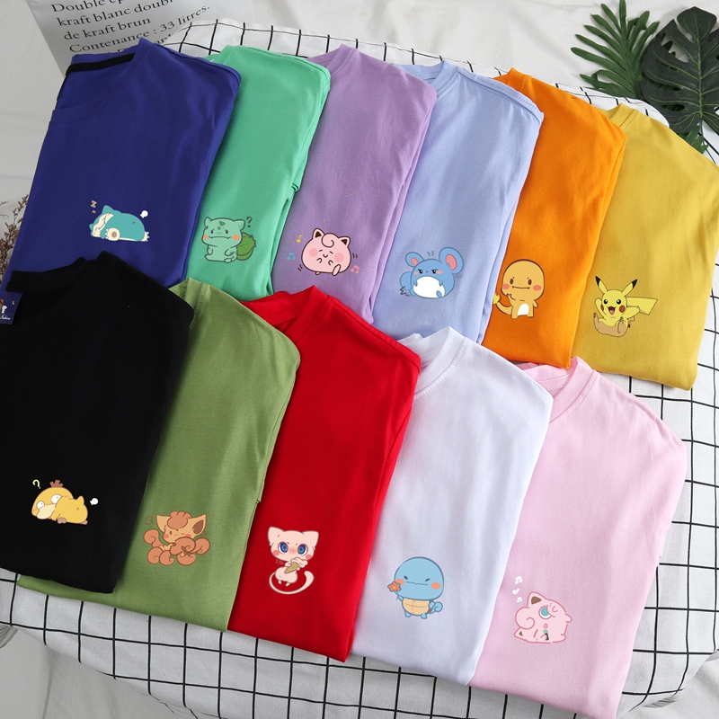 Summer Men's Top Harajuku Hip Hop Funny Pokemon Pocket Pikachu Pika Printed T-shirt Couple Casual Loose Cotton S-4XL Tees Homme