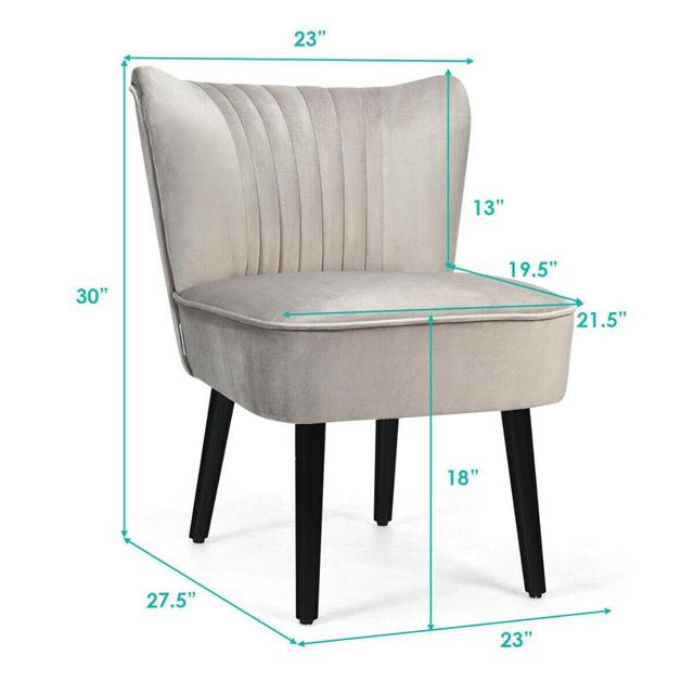 Set of 2 Armless Accent Leisure Chairs  2