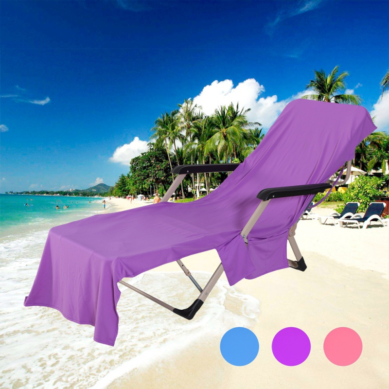 Beach /& Garden Folding Holiday Sunbath Lounger Chair Seat Cover with Pockets New