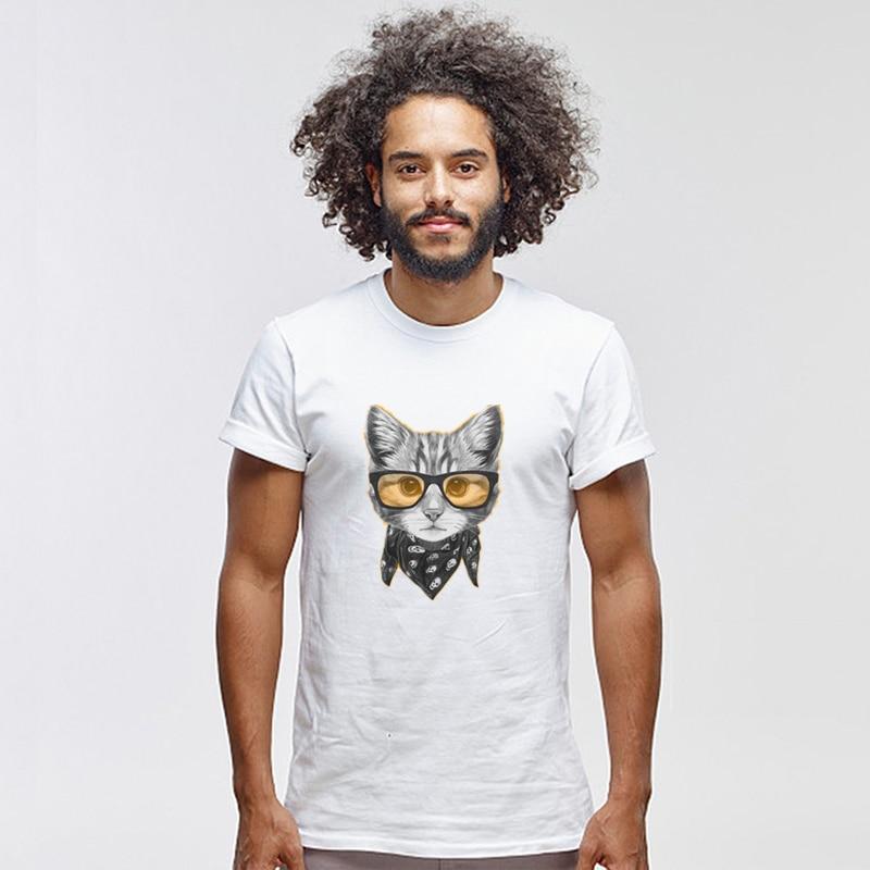 Забавная футболка для мужчин и женщин, модная брендовая хлопковая Футболка с принтом в виде очков и кошек, Мужская трендовая Повседневная