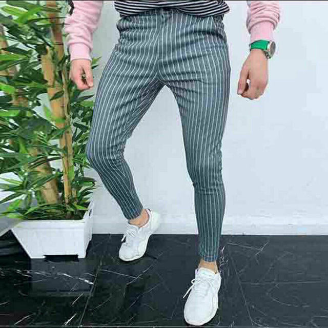 New Men's Striped Casual Slim Fitness Pants Male Trousers Business Pencil Casual Fashion Elastic Bodybuilding Streetwear 3