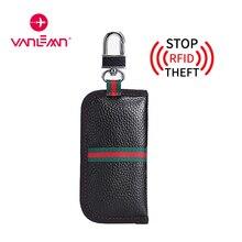 Rfid Car Key Wallet Men Women Stripe Keys Case Wallets Luxury Coin Purse Genuine Leather Key Holder Wallet CarKey Car Keychain