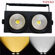 Lâmpada led com 2 olhos 2x100w, cob dmx, efeito palco, luz fria e quente, branca, profissional e dj 200w