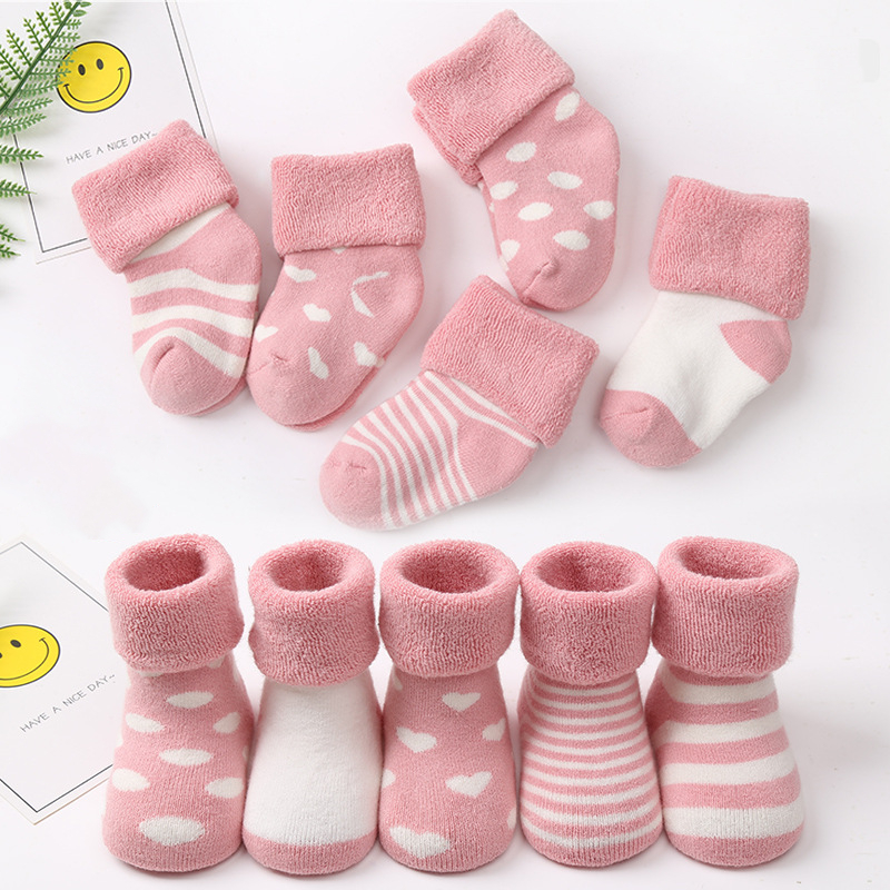 5 Pairs Baby Cotton Warm Socks Autumn Winter Terry For Newborn Toddler Boys Girls Sock Infant Gifts Cheap Stuff