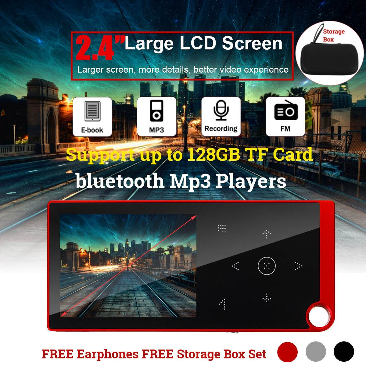 2,<font><b>4</b></font> zoll Bildschirm bluetooth Tragbare MP3 <font><b>MP</b></font> <font><b>4</b></font> <font><b>Player</b></font> FM Radio E-book Voice Recorder Audio Video HiFi Musik-<font><b>Player</b></font> Mit kopfhörer image