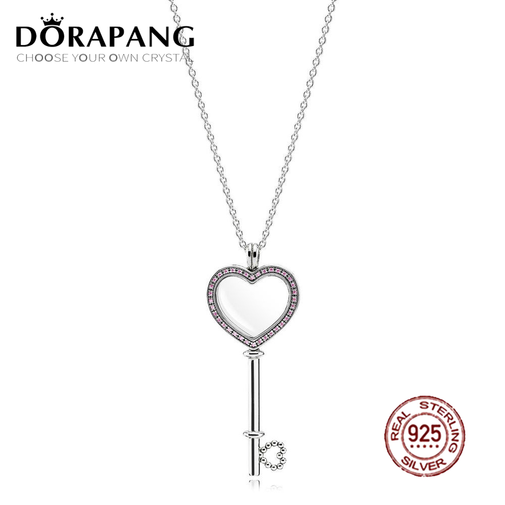 2018 Valentine's Day Newest 100% 925 Sterling Silver Pink Heart shaped Big key Floating Locket for Women Fashion Jewelry
