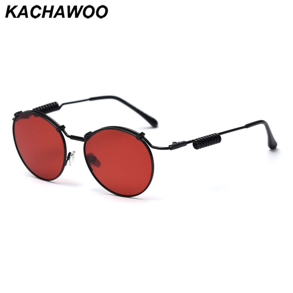 Kachawoo Red Vintage Retro Sunglasses Polarized Metal Women Punk Sun Glasses Round Men Unisex Summer Fashion Birthday Gift Items