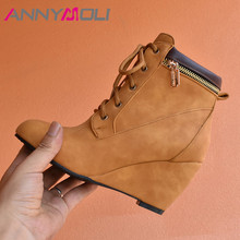 цена на ANNYMOLI Winter Ankle Boots Women Boots Zipper Wedge High Heel Short Boots Lace Up Round Toe Shoes Lady New Autumn Big Size 4-12