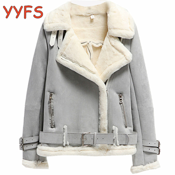 Winter Suede Jackets Women Lambs Wool Casual Jackets Thick Warm Faux PU Suede Jacket Female Oversized Motorcycle Coat Female 1