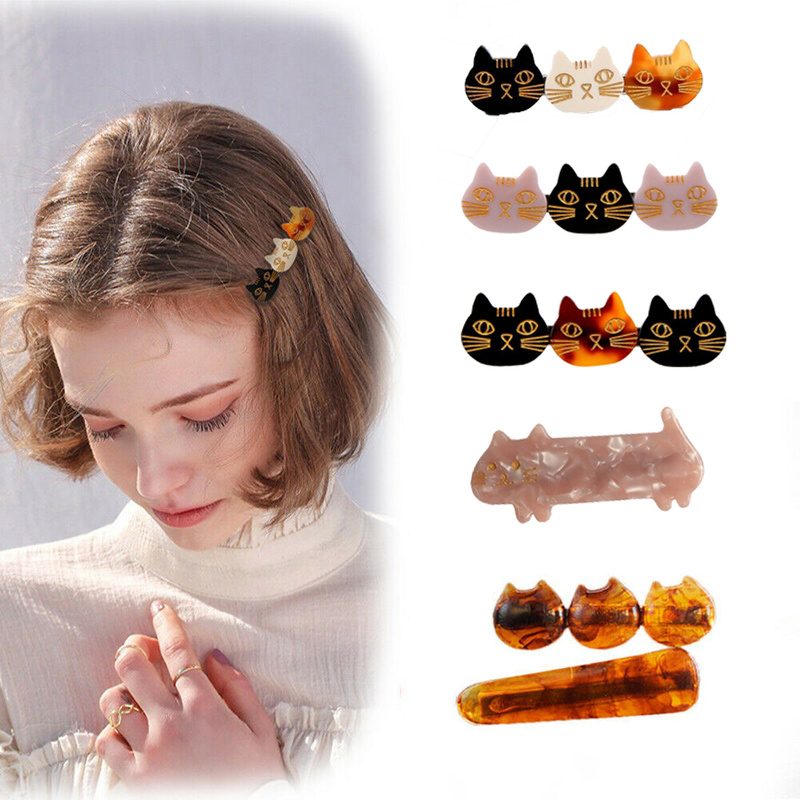 1pc Women Girls Acrylic Cat Barrette Headband Hair Clips Hairpins Hair Ornament Accesorios Headwear