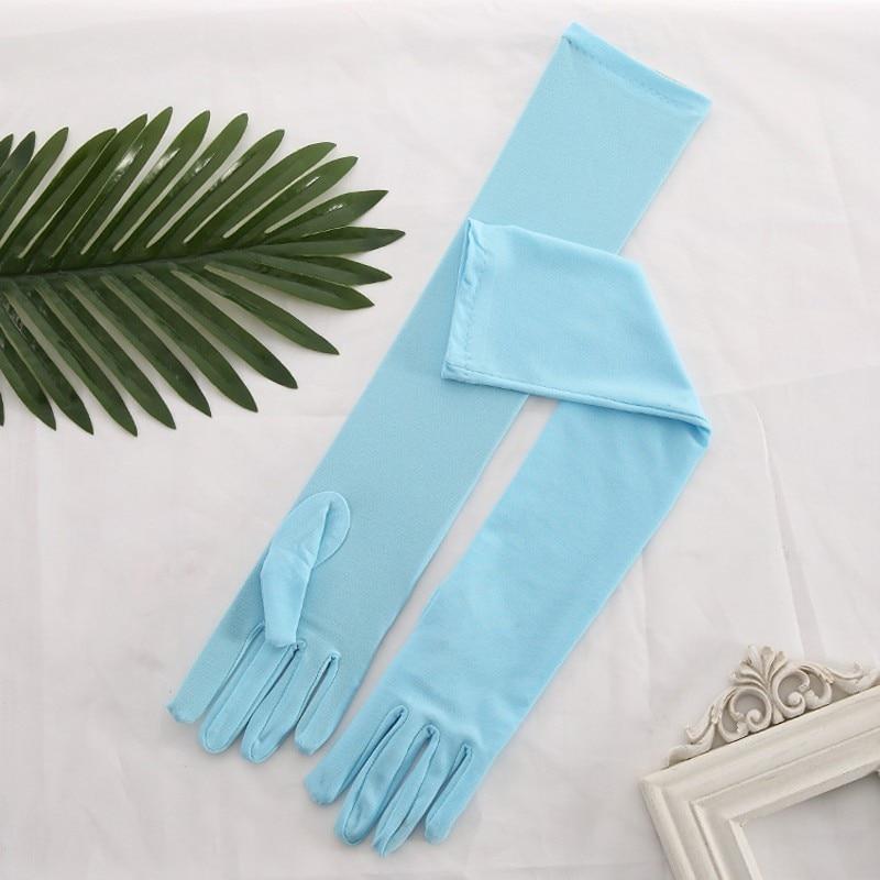 Red Yellow Pink Blue Pink Long Spandex Elegant For Bride Bridal Wedding Gloves 2019 Women Finger Gants Mariage Luvas De Noiva