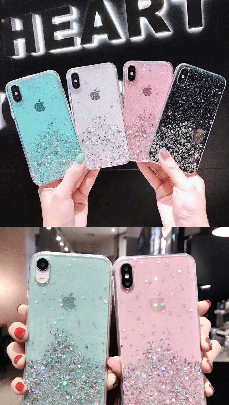 Hf09074d32da549878909283717616620J - Solid quicks Case For iphone 11 8 7 Plus 6 6s Glitter Bling Sequins Epoxy Star Case For iphone 11 Pro MAX X XR XS Soft TPU Cover