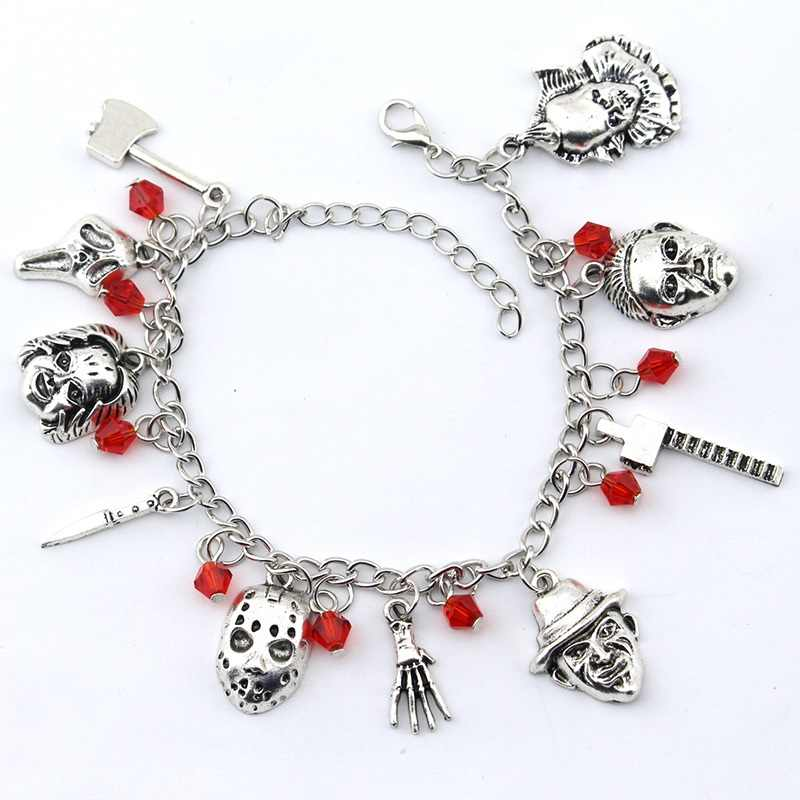 Chucky Rosto Jason Hockey Horror Stephen Reis Centavo Sábia charm bracelet For Man & Woman pulseira Jóias Presentes do Dia Das Bruxas