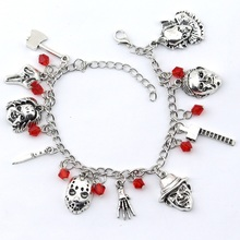 Chucky Face Stephen Kings Penny Wise Jason Hockey Horror charm bracelet For Man&Woman Halloween Jewelry Gifts