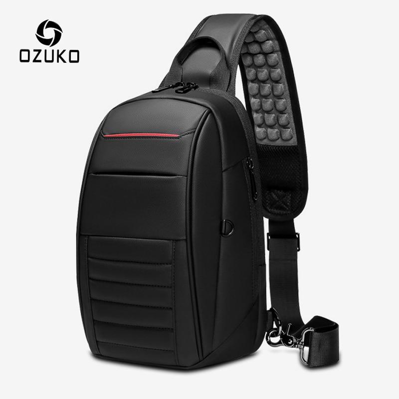OZUKO Multifunction USB Charging Chest Pack Shoulder Bag Men Business Waterproof Messenger Crossbody Bag Male Travel Sling Bags