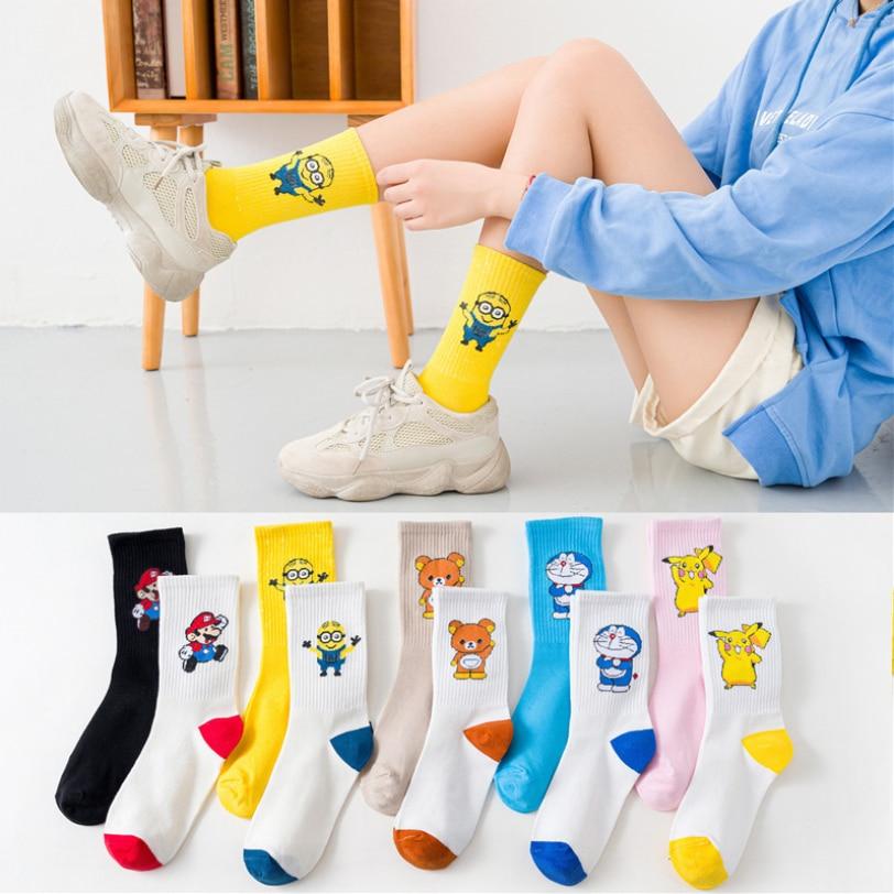 Cartoon Socks Women Anime Minions Pikachu Rilakkuma Kawaii Harajuku Cotton Non-slip Home Outdoor Embroidery Girls Socks White