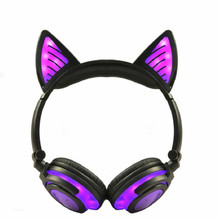 Wireless Bluetooth Stereo Cat Ear Headphones Led Flashing Glowing Gaming Headsets Earphones For Pc Laptop Computer Smart Phones все цены