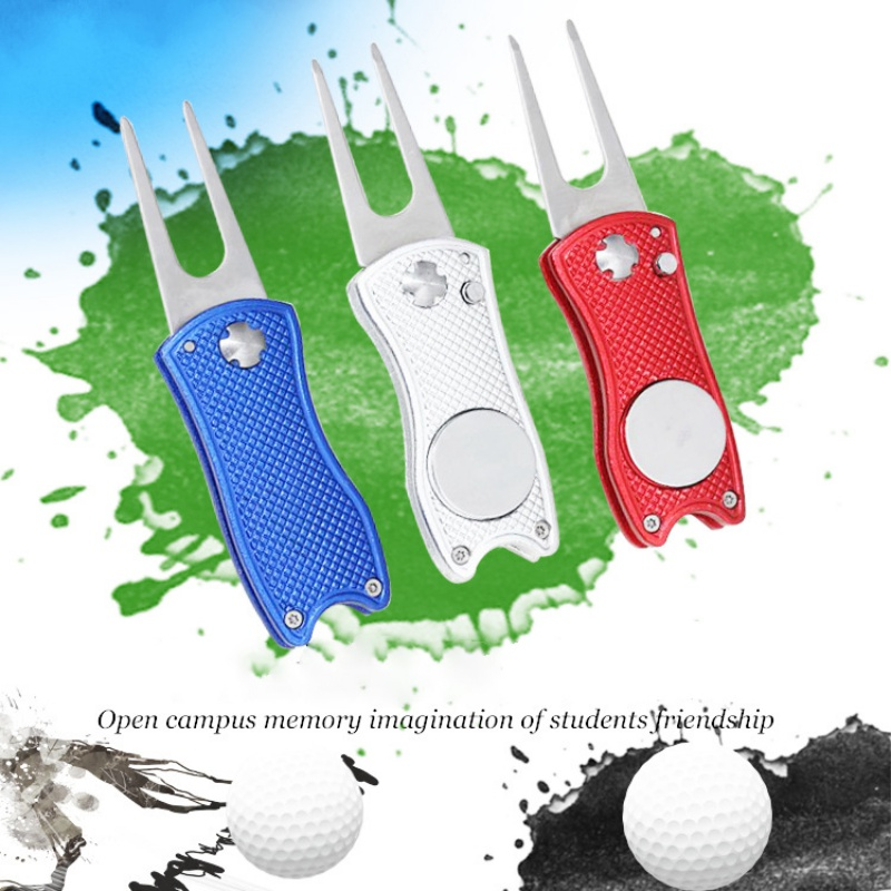 Foldable Stainless Steel Golf Divot Tool With Golf Ball Tool Marker Pitch Groove Golf Pitchfork Golf Accessories