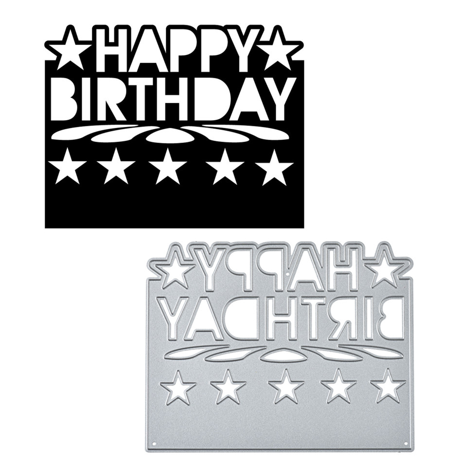 Happy Birthday Frame Metal Cutting Dies For Diy Scrapbooking Card Making Crafts