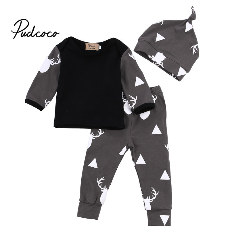 Baby Boys Girls Clothing Set Cotton Newborn Baby Clothes Long Sleeve Christmas Deer Print T-shirts+Pants+hat Infant Outfits
