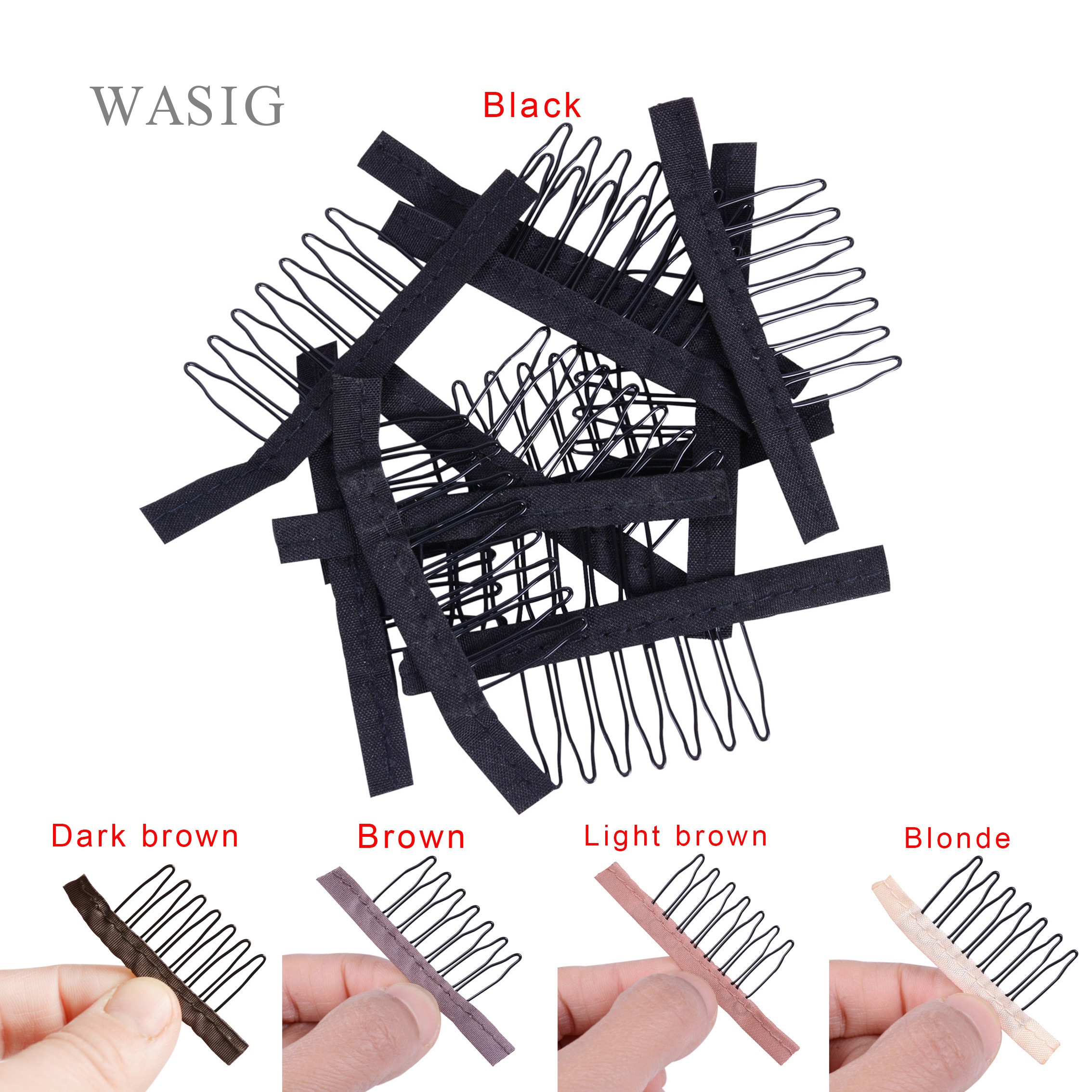 5 Colors Lace Wig Clips Steel 7 Tooth Polyester Durable Cloth Wig Combs For Hairpiece Caps Wig Accessories Tools 24 Pcs/lot