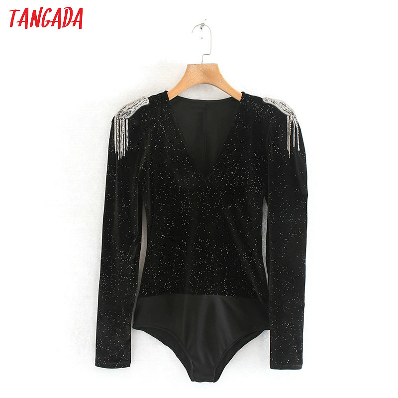 Tangada Sexy Shoulder Decorate Velvet Bodysuit For Wmen Body Suit V Neck Long Sleeve Party Black Shirt Playsuit 2XN162