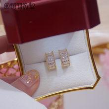 Obear 14k ouro real estilo coreano micro-incrustado cz c-em forma de brincos feminino elegante simples noivado casamento jóias presentes
