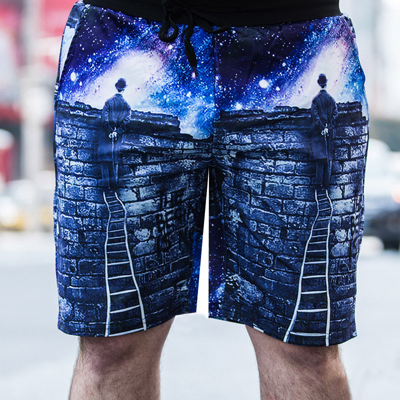 Summer Sports Men's Casual Large Size Shorts Trend Loose Quick-drying Star Print Beach Five-point Pants