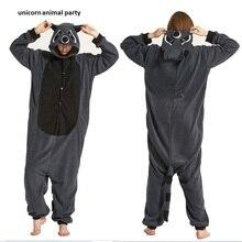 sleepsuit パジャマハロウィンポケモン コスプレ衣装大人の漫画の動物グレーアライグマユニセックスカバーオールパジャマコスプレ衣装