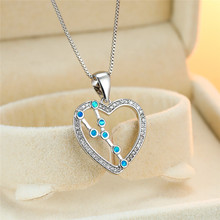 Cute Female Blue Opal Pendant Necklace Charm Zircon Libra Silver Chain Necklaces For Women Dainty Hollow Heart Wedding