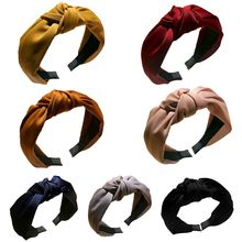 7 Colors Women Girls Cloth Wrapped Ruched Headband Glitter Plain Solid Color Retro Twist Cross Knotted Pleated Hair Hoop Casual