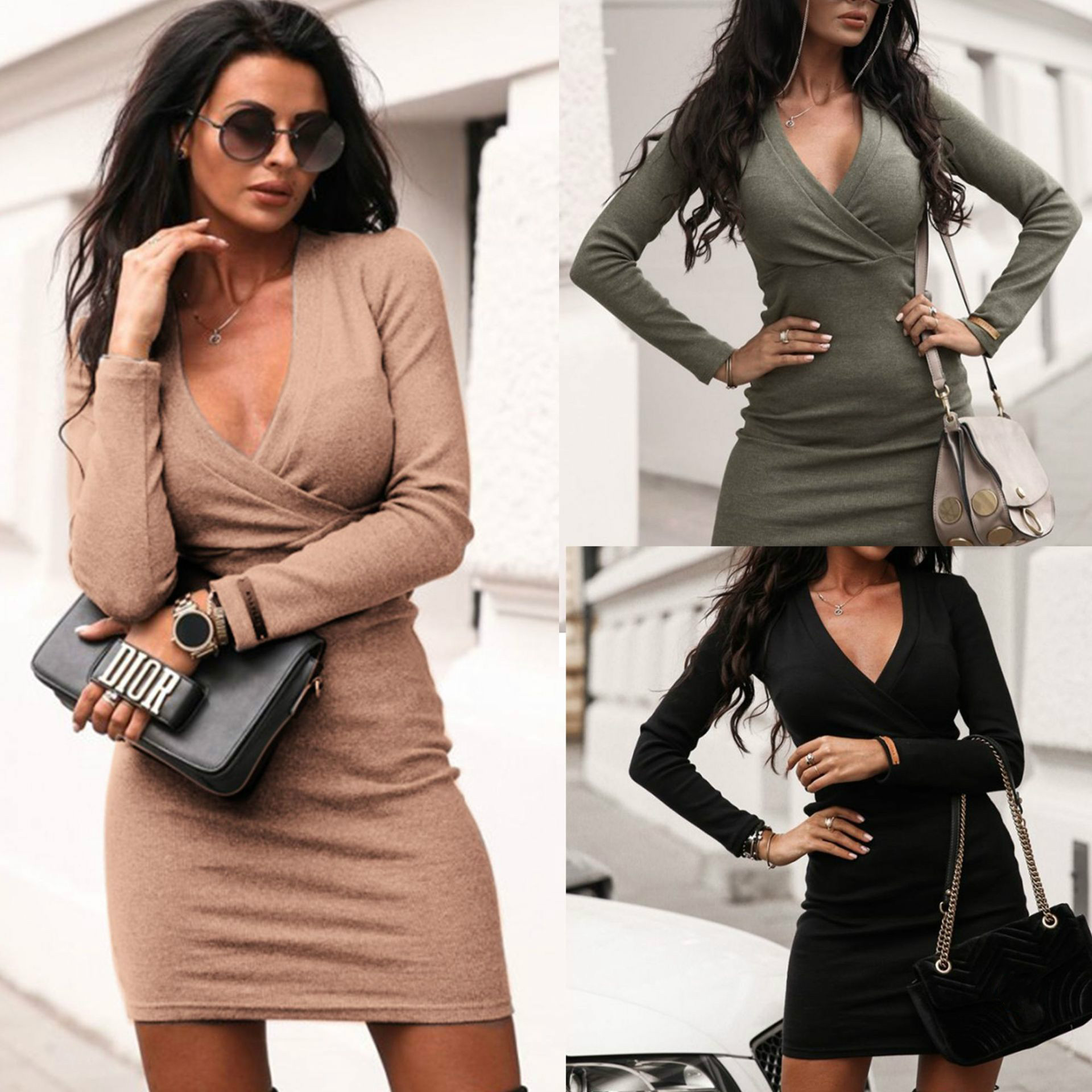 2019 Sexy Low Cut Solid Color Long Sleeve Women Bodycon Dress Sexy Dress Women Party Night Club Wear Long Sleeve Dress Dresses  - AliExpress