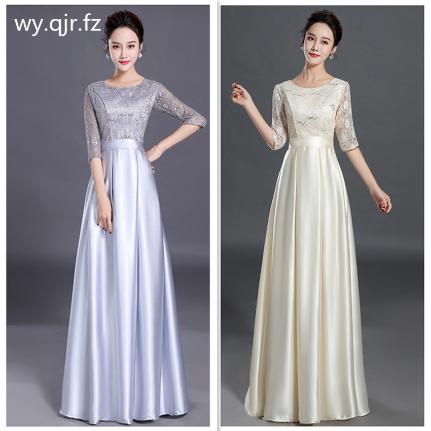 HJZY90#Bridesmaid Dresses Long Gary Blue And Red For Female Presenters Of Grand Chorus Graduation Dress Girls Cheap Wholesale