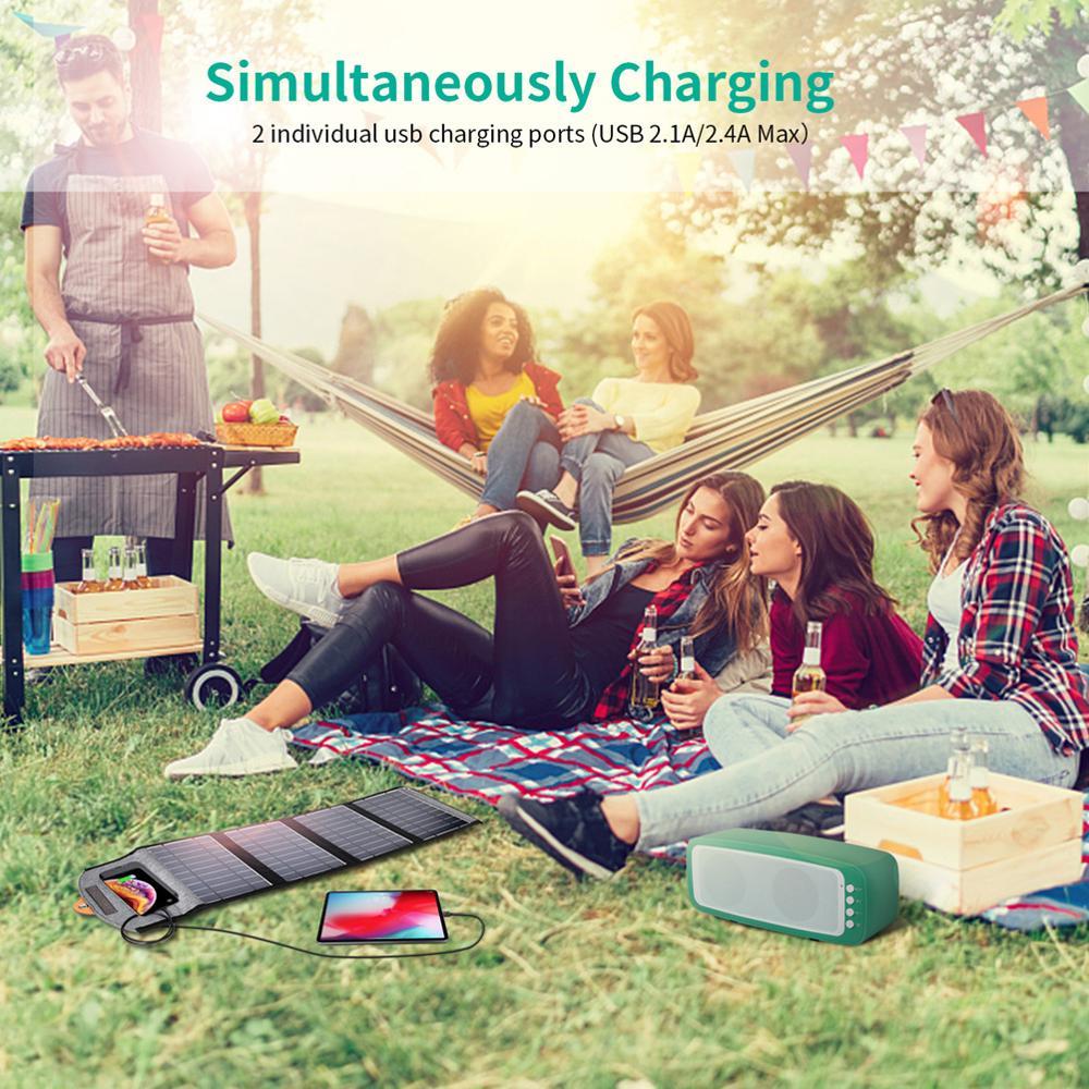 Choetech 5 v/2.4a painel solar 22 w para o iphone 11/x/xs dispositivos de saída usb painéis solares impermeáveis portáteis para a bateria do telefone de huawei - 6