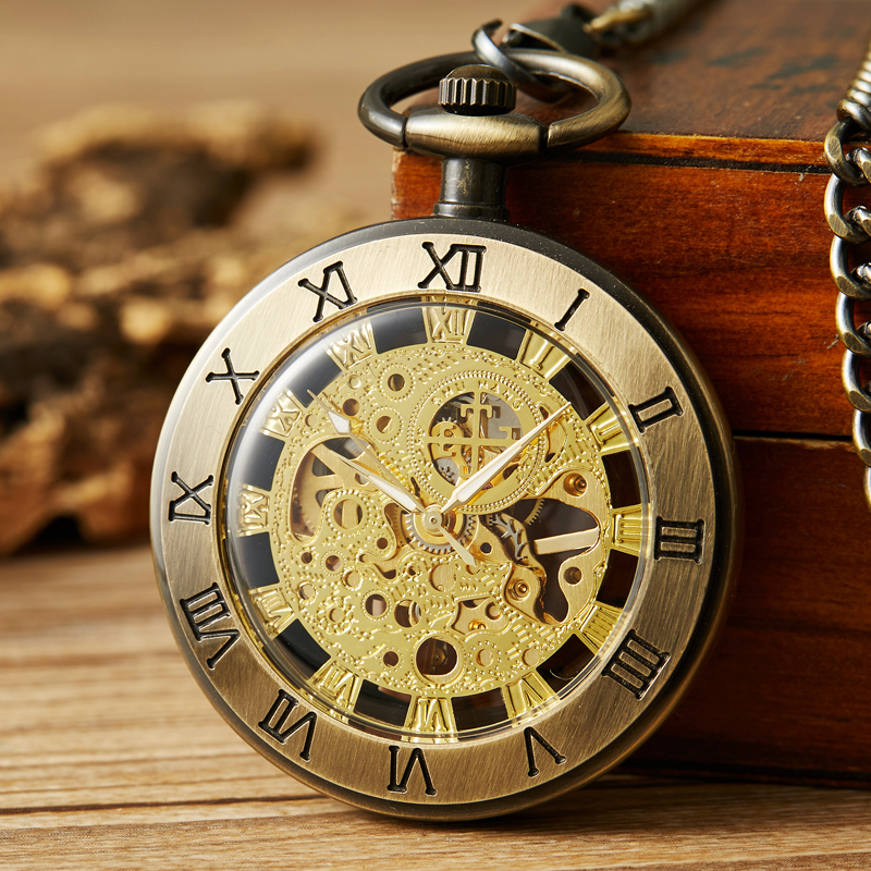 Retro Unique Fob Pocket Watch Vintage Mechanical Pocket Watch Mens Roman Dial Bronze Watch