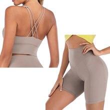 Yoga şort takımı kadın spor seti Yoga kıyafeti kadınlar için 2 parça spor takım elbise spor sutyeni setleri egzersiz kıyafetleri Spandex spor giyim