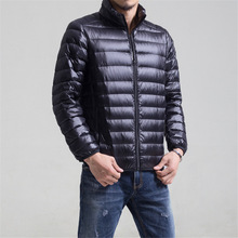 Warm Men's Light Down Jacket Stand Collar Winter Zip 90% White Duck Down Man Coat Plus-size jaqueta masculino chaqueta hombre
